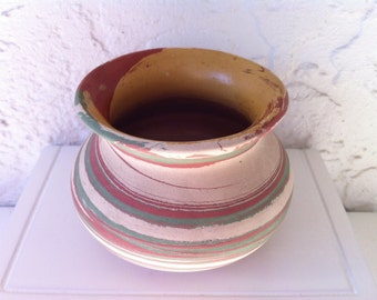 Vintage Florida Mission Swirl Pottery Bowl - Henry A. Graack - Marbleized American Art Pottery - Silver Springs FL, FREE SHIPPING