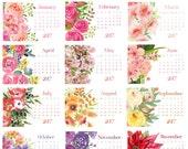2017 Water Color Garden Desk Calendar Refill