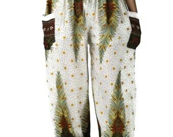 Boho pants Yoga Pants Harem Pants Yoga pants Hippie Peacock Design White Hippies pants  one size fits Clothing Beach Women Baggy Casual