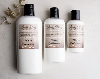 Warm Cardamom Nourishing Lotion - Warm Cardamom and Granulated Sugar Scented Moisturizer, with Aloe, Avocado Oil, Shea Butter
