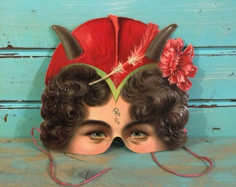 Amazing Victorian Paper Mask, Late 1800s Antique Halloween Mask, Red Devil Lady, Embossed Cardstock, Masquerade Mardi Gras