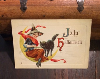 SALE reg 55.00 Halloween Antique Postcard, UNUSED, c 1910, Friendly Witch Sitting on Moon, Black Cat, Jolly Halloween, Vintage Postcard