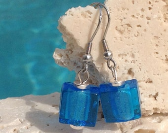 Sky blue square foil glass lampwork earrings