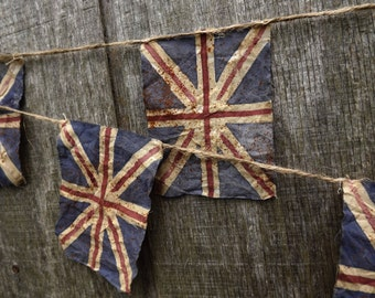 Union Jack Bunting Primitive British Flag Bunting United Kingdom Flag