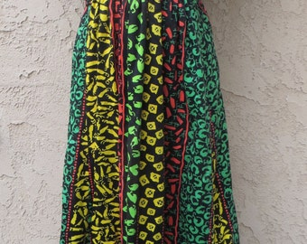 Vintage 1960's black/bright op art print flutter sleeve maxi dress size 10 boho hippie