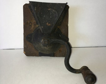 Antique Wall Mount Coffee Grinder Primitive Rustic Mounted On Wood