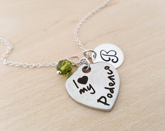 I Love My Podenco Charm - Dog Necklace -  Swarovski Birthstone - Initial Necklace - Personalized Necklace - Sterling Silver Necklace