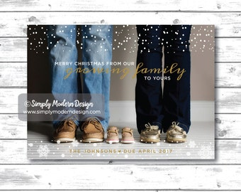 holiday card, christmas card, growing family, pregnancy, pregnancy announcement, winter, were' expecting, PRINTABLE or PRINTED CARDS