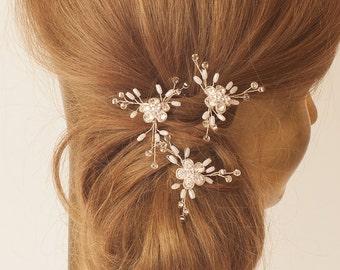 Wedding Hair Pins, Crystal & Pearl Bridal Hair Pin, Flower Bobbie Pin Hair Jewelry