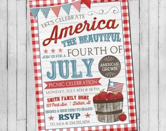 Fourth of July Invitation | 4th of July Invitation | 4th of July Picnic | July Celebation | Digital Invitation