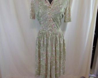 "Vintage 50s Nylon Paisley Green Pink Shirtwaist Day Dress 30"" Waist L"
