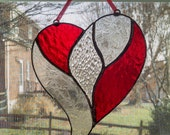 Stained Glass Heart Suncatcher - Red and Clear - Valentines Decor - Heart Ornament - Valentines Day Gift - Anniversary Gift - Wedding Gift