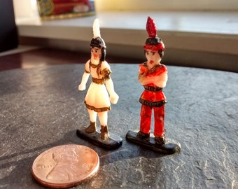 1 little 2 little 3 little Indians:  MINI hand painted Native American boy girl duo vintage Halloween people birthday terrarium craft supply