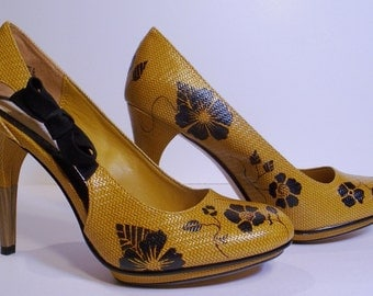 Clearance: Handpainted high heels; one of a kind!