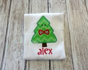 Mr. Christmas Tree Appliqued Shirt - Embroidered Shirt, Personalized, Monogram, Holiday, Christmas, Christmas Tree, Boys Christmas Tree
