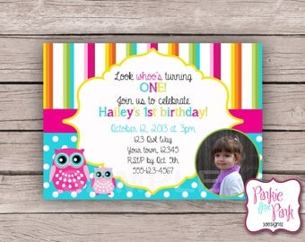 Personalized Owl Hoot Birthday Party Invitation- Digital File Download- Baby Shower