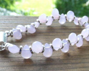 Petite Pale PinkPetal  Bracelet with silver discs and silver magnetic closure
