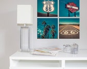 Set of 4 canvas Palm trees route 66 Harley Davidson/route 66 canvas/Bathroom Art/boys room decor/Bath Wall Decor Set/set of 4 prints 8x8