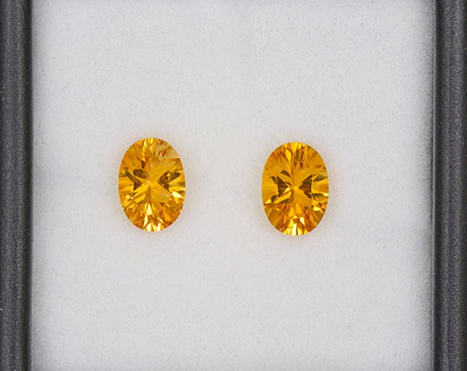 Brilliant Yellow Sunset Tourmaline Gemstone Match Pair from Tanzania 1.70 tcw.