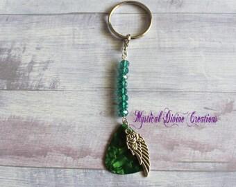 Green Keychain-Musical Keychain-Guitar Pic-Men's Accessories-Green guitar pick-Guitar Keychain-Green Key Holder