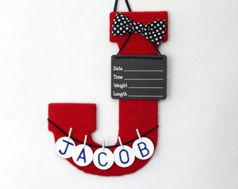 """Baby boy hospital door hanger letter """"J"""" personalized name with bowtie"""