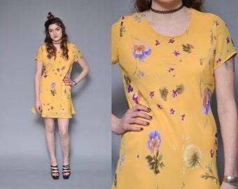 Floral Print Dress 90s Grunge Dress S M Mustard Yellow Bias Cut Sheer Gauzy Hippie Boho Ditsy REVIVAL Dandelion Spring Sun Mini Dress