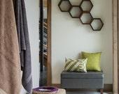 Wooden Floating Shelves - Honeycomb Cubby Shelf - OOAK - Geometric - Mid Century Modern - Minimalist Storage Unit - 5 Medium Hexagon Shelves