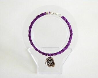 Flower Suede Twist Charm Bracelet