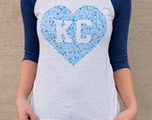 Kansas City Floral Baseball Tee - Available in Unisex Sizes