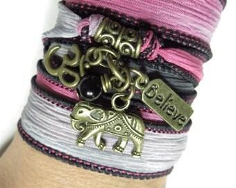 Lucky Elephant Silk Wrap Bracelet Om Yoga Jewelry Buddhist Ribbon Silk Wrap Believe Bohemian Wrist Wrap Unique Christmas Stocking Stuffer