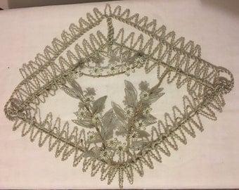 Antique French Beaded Wreath Beautiful Beadwork