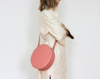 Pink leather bag, cross body round bag, leather crossbody bag, circle bag FREE SHIPPING