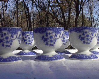 Cobalt Blue and White Cherry Blossoms Egg Cups, Made in Japan, Vintage Set of 6