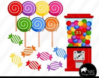 Candy Clipart, Candy Shop Clip Art - Cute Candy Shop Gumball Machine Lollipops Clip Art