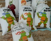 """Ninja Turtles Favor Bags TMNT Group 2 Birthday Party or School events for Treat's or gift Can be personalized 5"""" X 7"""" or 6"""" X 8"""" Qty 7"""