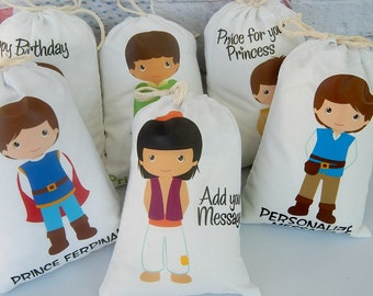 """Prince Party favor Bags Birthdays or school events, for treats and gifts Can be Personalized with message 5"""" X 7"""" or 6"""" X 8"""" Qty 6"""