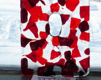 Red Mosaic Fused Glass Single Toggle Light Switch Plate