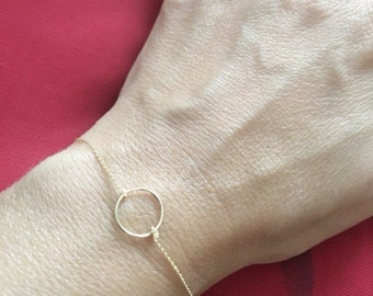 14k Gold Eternity Circle Bracelet/anniversary/bridesmaids/wedding/birthday/graduation