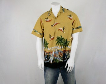 Vintage Surfer Border Print Hawaiian Shirt Styled by RJC Large