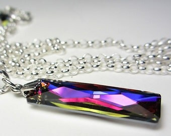 Swarovski Column Pendant Rainbow Necklace Rectangle Pendant Molten Lava Necklace Prism Crystal Necklace Sterling Silver Necklace Gift