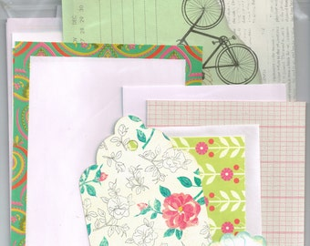 Snail Mail Kit, pen pal starter set, 20+ pieces. Stationery, envelopes, blank cards, floral tag, writing paper, pretty planner variety pack