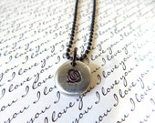 Rose Necklace, Pewter Pebble with Rose and Rustic Copper Ball Chain