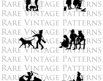 6 Printable Victorian Country People Silhouette Elements Digital Image Vintage ClipArt for Transfers Transparent Background 300dpi 8.5x11
