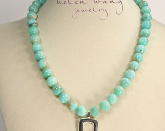 Adjustable Necklace of Peruvian Amazonite Spheres with .925 Sterling Silver Square & Sterling Swivel Rings/Closure