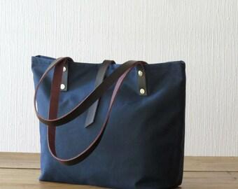 Waxed Canvas Bag Tote Bag, Purse, Canvas and Leather, Navy Blue, Medium Tote, Handbag Shoulder Bag, Everyday Bag