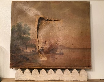 Reserved for Martin Shabby antique oil on canvas