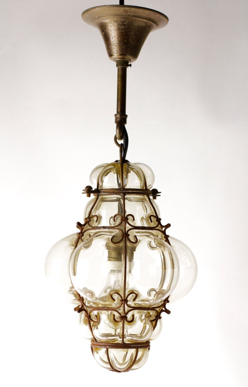 vintage blown glass lantern or bohemian pendant light seguso