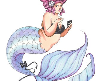 Plus Size Mermaid, Fashion Illustration, Art Print of an Artist Marker Sketch