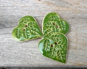Heart Buttons, Hearts And Leaves , Sewing Supplies, Large Green Buttons, Handmade Buttons
