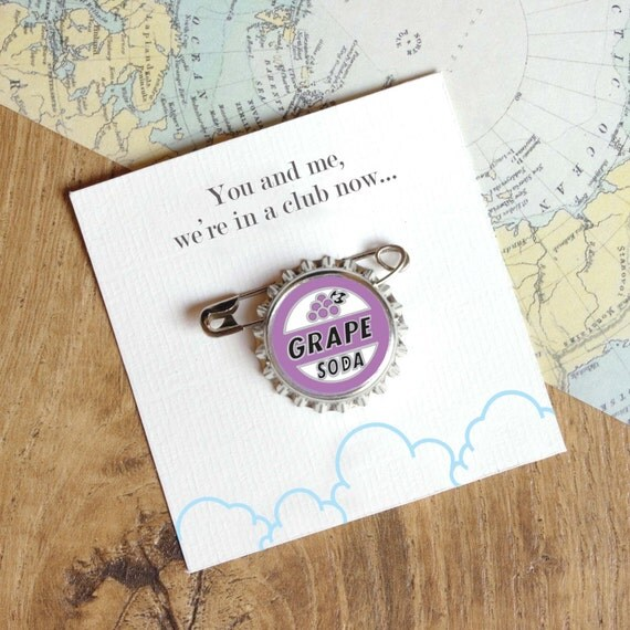 Grape Soda Pin Bottle Cap Badge Best Friend Birthday Gift